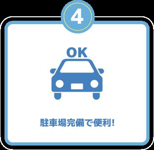 駐車場完備で便利!